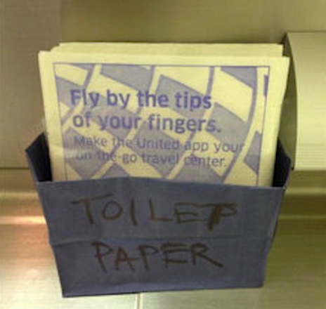 United flight attendants improvisation when toilet paper ran low. (Credit: Unknown)