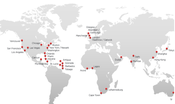 Virgin Atlantic's route map