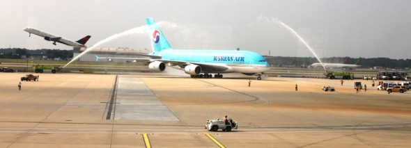 Korean Air gets its official squirt at ATL (Photo: Atlanta Airport)