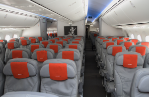 Economy class seating on Norwegian