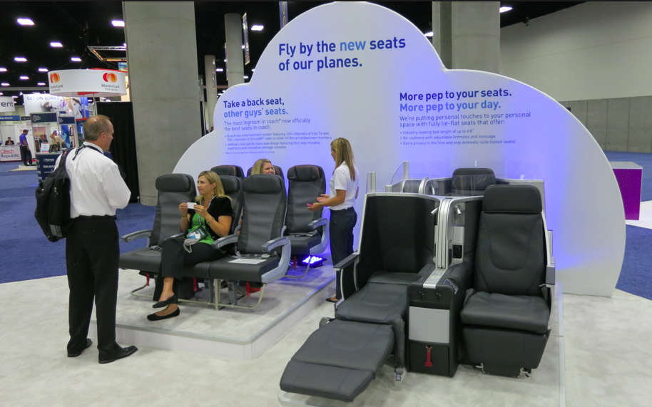 JetBlue new Mint and coach seat on display in San Diego in August (Chris McGinnis)