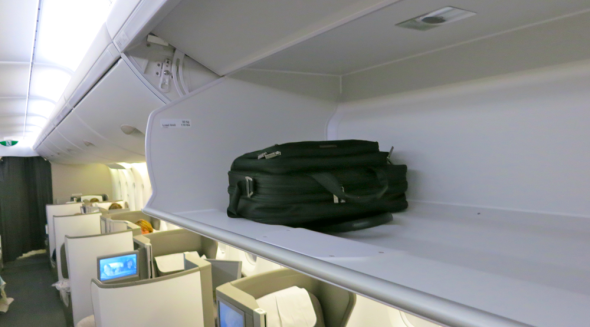 No problem with carry on space on this big bird-- the A380 has some of the largest overhead bins I've ever seen. My briefcase is dwarfed by the space! (Chris McGinnis)