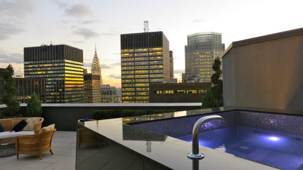 New Triplex Suites atop the New York Palace hotel have huge outdoor decks w Jacuzzis (Chris McGinnis)