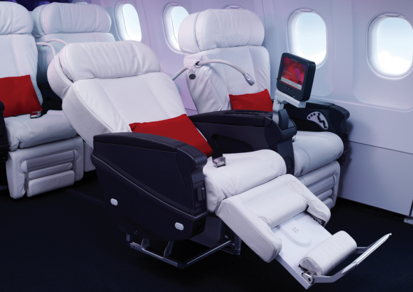 Virgin's cushy first class seats look like big white marshmallows (Virgin America)
