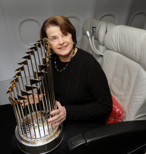 Diane Feinstein flying home from DCA with the Giants last winter (Twitter)