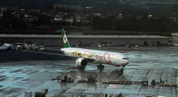 Eva Air's Hello Kitty themed plane landed at SFO today! (SFO Facebook page)