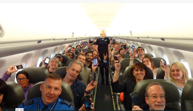 JetBlue passengers celebrate relaxation of inflight electronics rules (JetBlue)