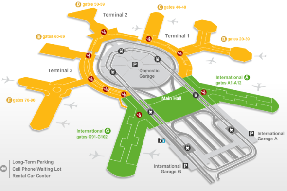 Revised SFO airport map now shows T3E gates 60-69
