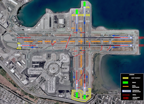 SFO's North-South Runways 1R & 1L will close. Arrivals and departures will use 28R & 28L.