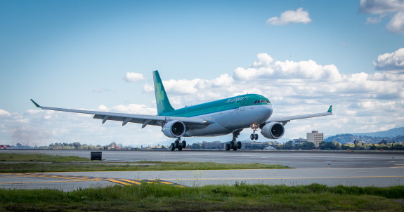 Air Lingus A330 touches down at SFO on Weds, April 2 (Photo: Aer Lingus)