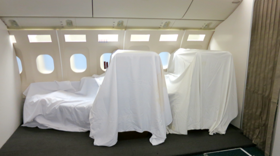 Cathay's super secret inflight testing lab-- who knows what lies beneath the sheets? (Photo: Nancy Branka)