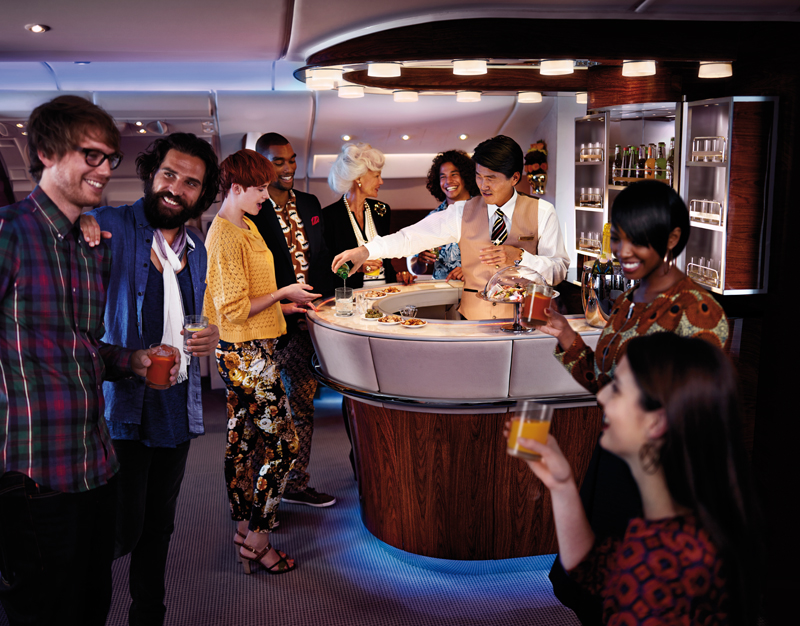 The business and first class lounge on upper deck of Emirates A380 (Photo: Emirates Airline)