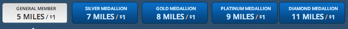 Delta's SkyMiles conversion chart posted in February 2014