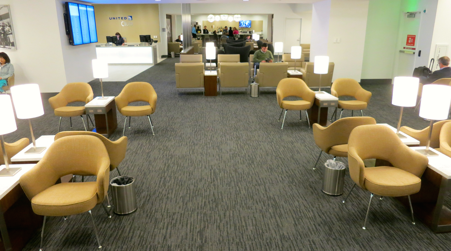The new United Club color palette of gold, gray, white and putty on display (Photo: Chris McGinnis)