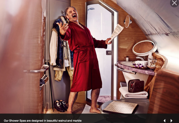 Emirates' depiction of its first class shower suite (Photo: Emirates Airline)