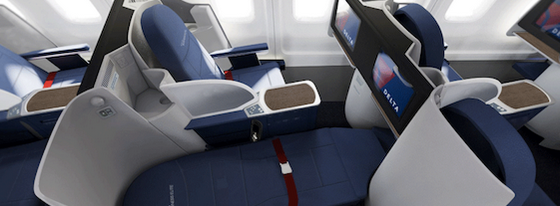True lie flat biz class seats now on Delta's JFK LAX flights & coming soon to SFO & SEA (Photo: Delta)