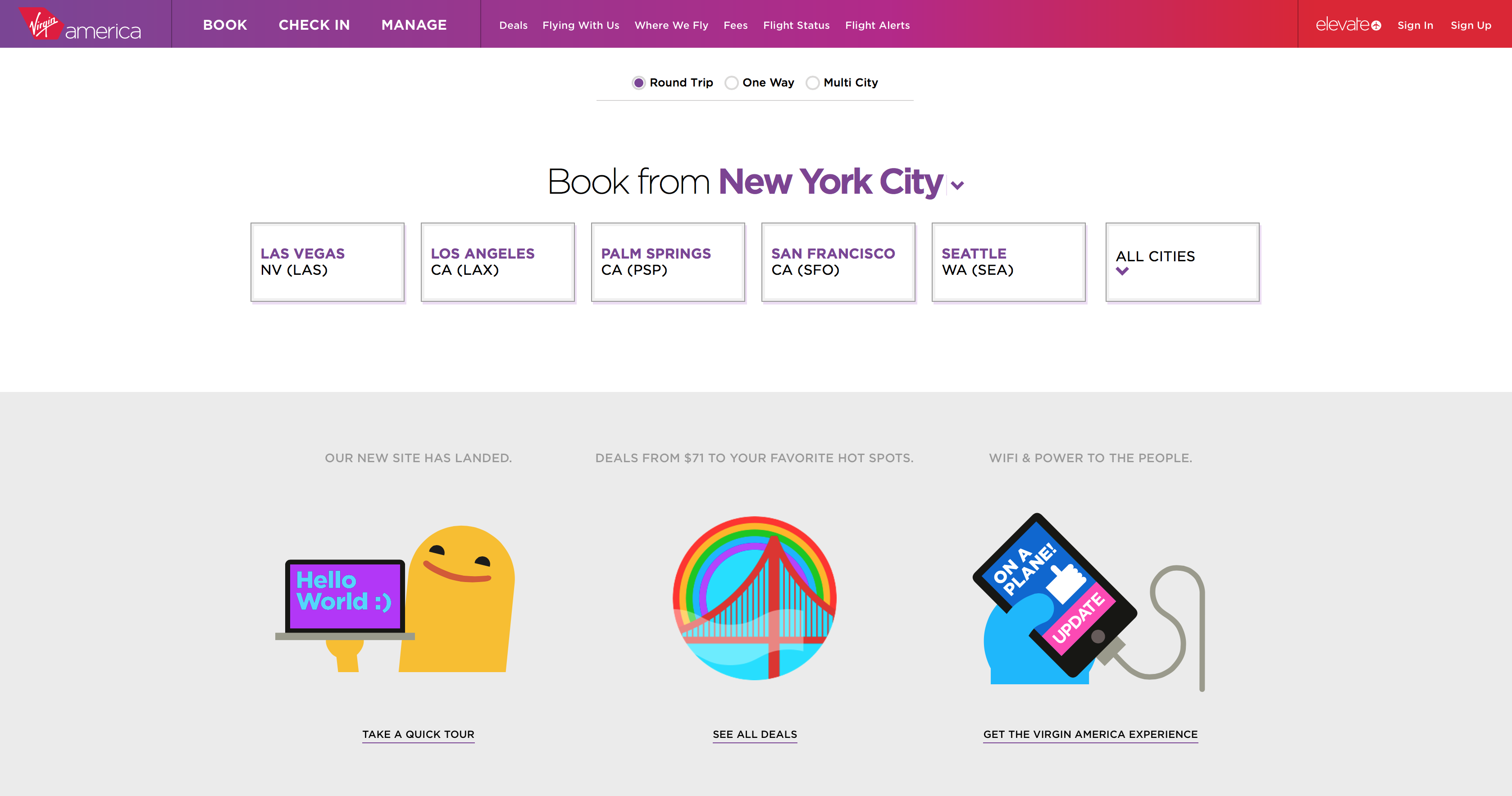 Virgin America's quirky, clean new home page (Virgin America)