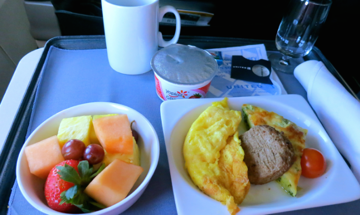 My first class breakfast on United SFO-BOS flight last week. Not too pretty, but tasted good. (Photo: Chris McGinnis)
