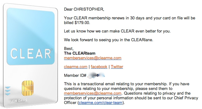CLEAR card renewal email