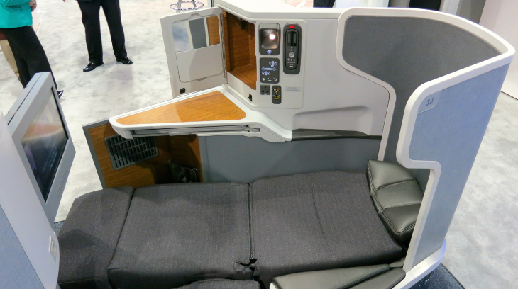 The new lie-flat seat that American Airlines is using on its long hauls-- esp popular on the New York to London run (Chris McGinnis)