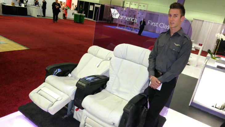 Virgin America was there showing off its cushy white leather first class seats (Chris McGinnis)