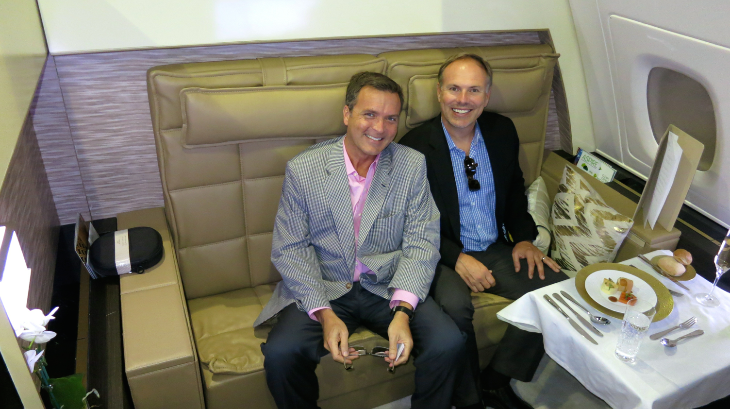 "That's me and Johnny Jet in the ""living room""- one of three rooms in the new ""Residence"" onboard its new A380s"