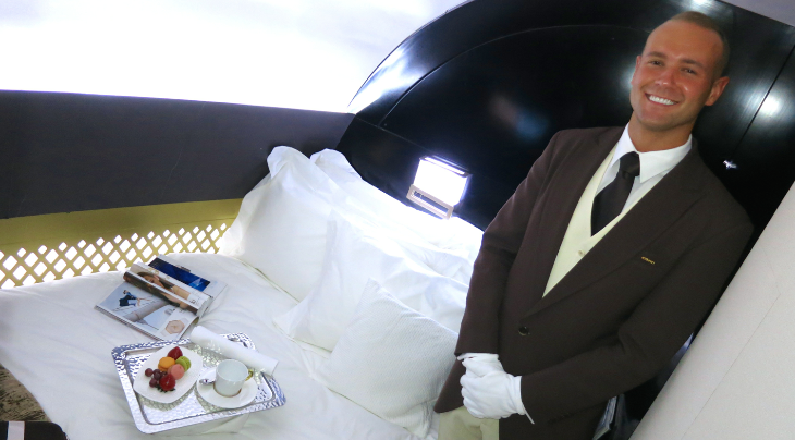 "The star of the show was a mock up of Etihad's new 3-room ""Residence"" w double bed on its new A380's (Chris McGinnis)"