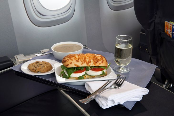 United upgrades first class fare with items like this caprese on Asiago baguette (Photo: United)