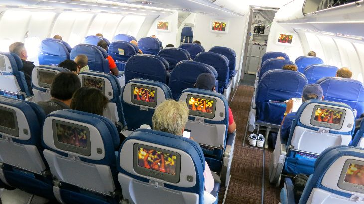The fore cabin of Hawaiian's A330 houses both first and premium economy seats (Photo: Chris McGinnis)