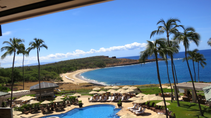 The Four Seasons Lanai at Manele Bay has a spectacular position on a secluded white sand beach. (Photo: Chris McGinnis)