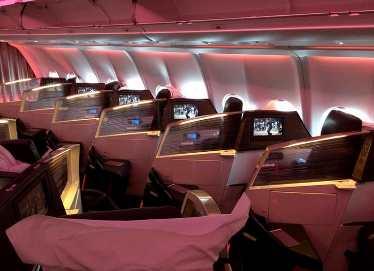 Upper Class on Virgin Atlantic A330-300 with the 1-2-1 reverse herringbone config (Photo: Tom Mascardo)