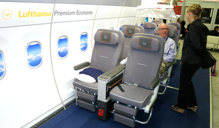 Lufthansa's new premium economy seat on display at the Global Business Travel Association convention in August (Chris McGinnis)