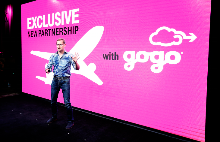 T-Mobile CMO Mike Sievert addresses the media at the Un-carrier 7.0 event  in San Francisco. (Photo: Jed Jacobsohn)