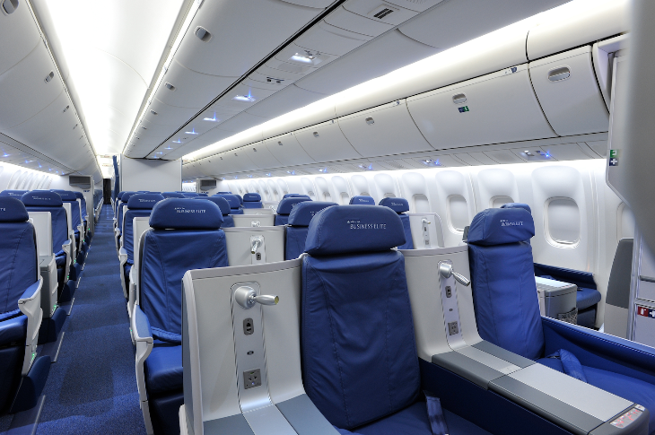 Delta's 767's flying between LAX and JFK sport Business Elite seats up front. (Photo: Delta)