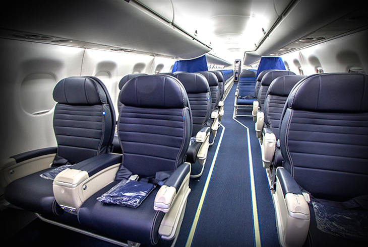 Inside the first class section of a United E175 (Embraer)