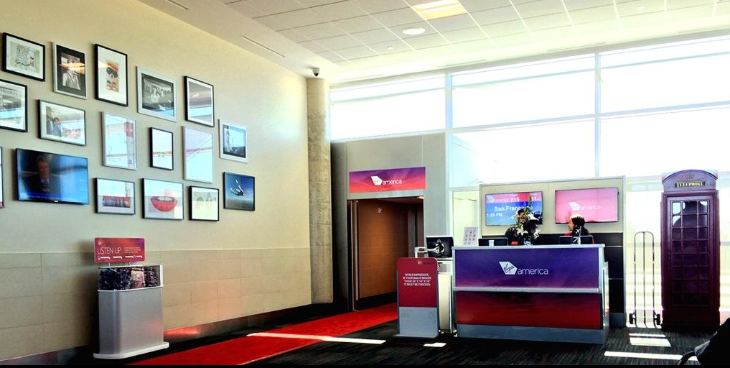 Virgin America has added some Brit-pop touches to its gate area, like a replica of a London hotel booth