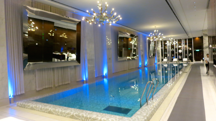Get this: A pool lit by chandeliers at the brand new JW Marriott Dongdaemun in Seoul (Photo: Chris McGinnis)