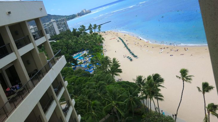 View from the recently refurbed Ali'i Tower at the Hilton Hawaiian Village. (Photo Chris McGinnis)