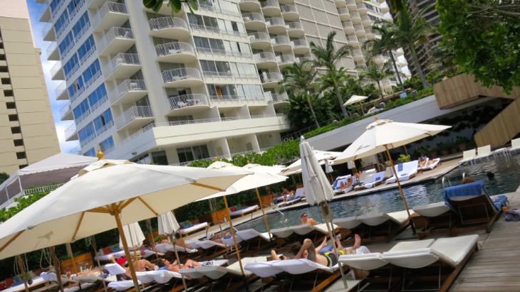 Poolside at the Modern Honolulu hotel- great for sunbathing or a power breakfast (Photo: Chris McGinnis)