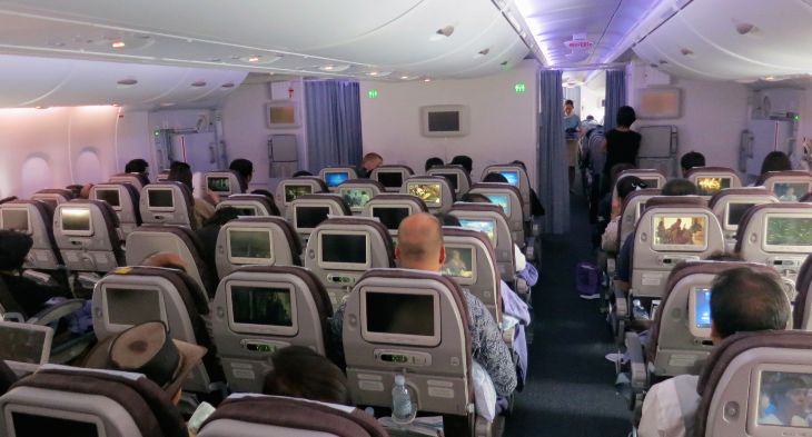 "Economy class on the A380 is configured 3-4-3 and seats have a generous 33""-34"" of pitch and oversized seatback screens (Photo: Chris McGinnis)"