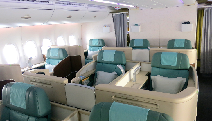 Korean Air's first class cabin flew empty from ICN to ATL (Photo: Chris McGinnis)