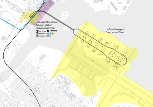 A grand re-imagining of New York's LaGuardia Airport- enter on Riker's Island & take a train to your plane (ReThink NYC)