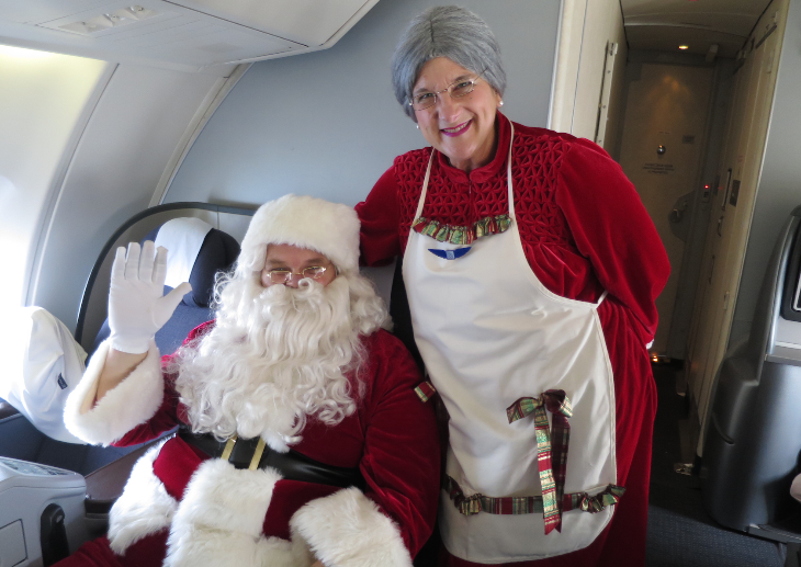 Santa and Mrs. Claus hung out on the upper deck before making their dramatic appearance.