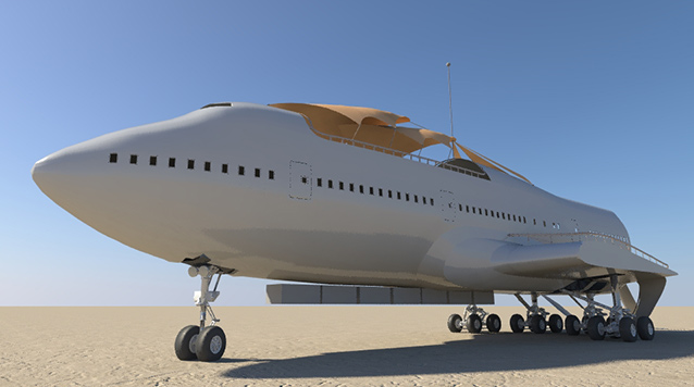 Rendering of the modified 747 that will buzz Burning Man this August (Courtesy Lance Powell)