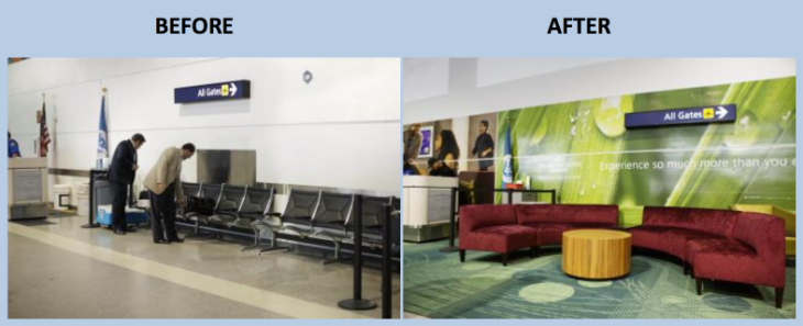 Here's a before and after look at Oakland Terminal 2's security checkpoint. (Photo: Security Point Media)