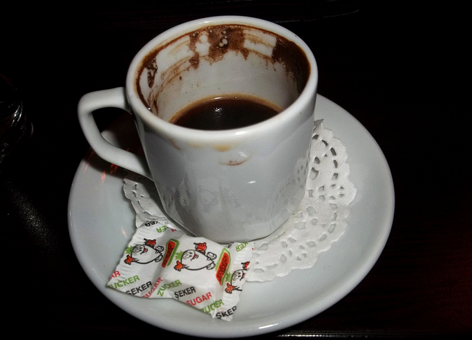 Turkish coffee is a thick brew served with water to help wash it down! (Photo: Erica Ashleson / Flickr)