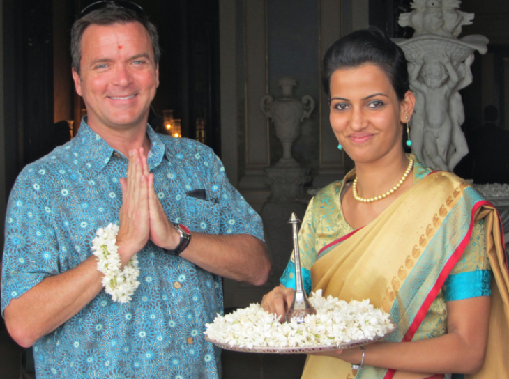 Greeting our hosts at the Falaknuma Palace hotel in Hyderabad, India (Photo: Barkley Dean)