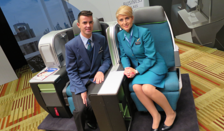 Two Aer Lingus crew members checking out the new furniture (Photo: Chris McGinnis)