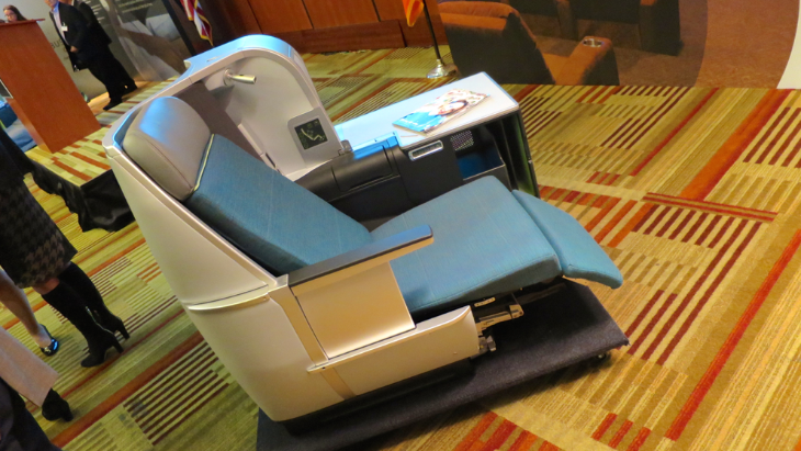 The new business class seat in partial recline (Photo: Chris McGinnis)