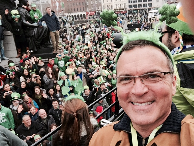That's me on top of a double decker bus, in the thick of St Patrick's Day Parade in Dublin.